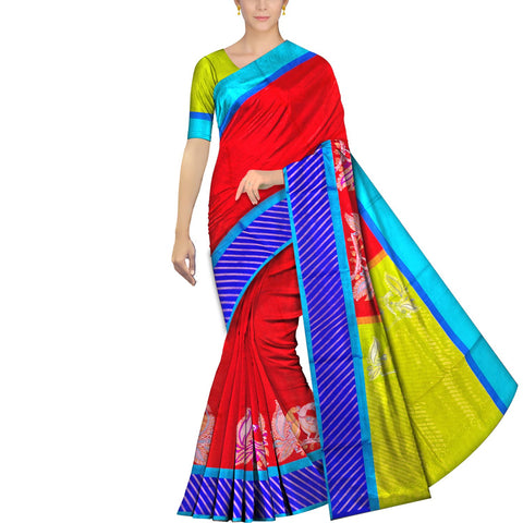 Red Ksheerapuri Kuppadam Dancing peacocks border zari buta Saree