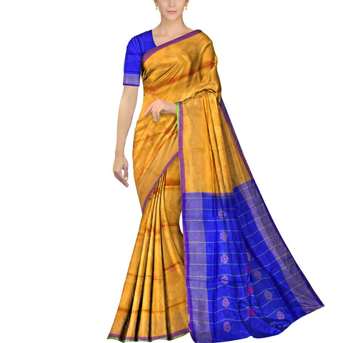Mustard Uppada Plain Weave Kaddi border body mirror buta Saree