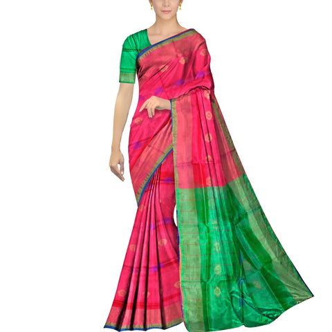 Red Uppada Plain Weave Kaddi border body mirror buta Saree