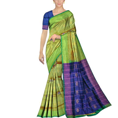 Pistachio Green Uppada Plain Weave Kaddi border body mirror buta Saree