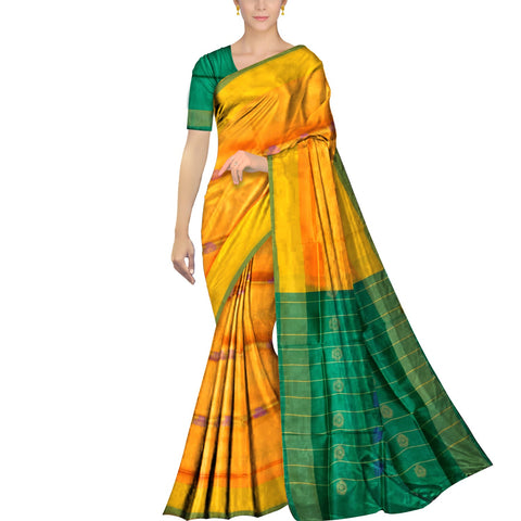 Saffron Uppada Plain Weave Kaddi border body mirror buta Saree