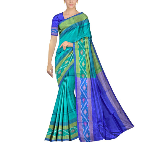 Turquoise Pochampally Kuppadam Contrast Pochampally border plain body  Saree