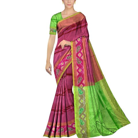 Plum Velvet Pochampally Kuppadam Contrast Pochampally border plain body  Saree