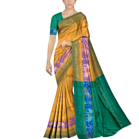 Goldenrod Pochampally Kuppadam Contrast Pochampally border plain body  Saree