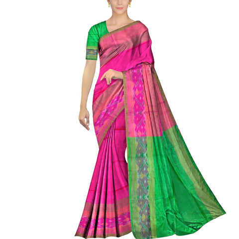 Deep Pink Pochampally Kuppadam Contrast Pochampally border plain body  Saree