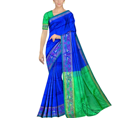 Cobalt Blue Pochampally Kuppadam Contrast Pochampally border plain body  Saree