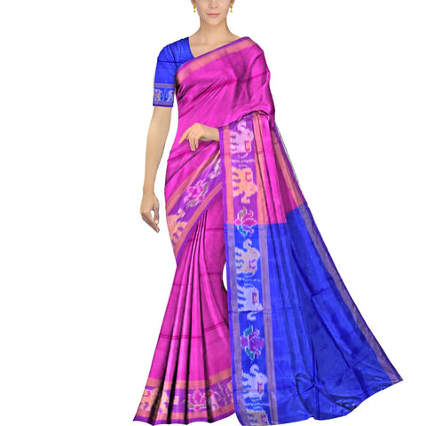 Neon Pink Pochampally Kuppadam Contrast Pochampally border plain body  Saree