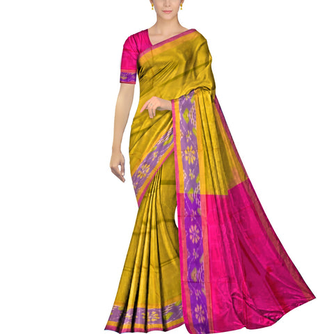 Orange Gold Pochampally Kuppadam Contrast Pochampally border plain body  Saree