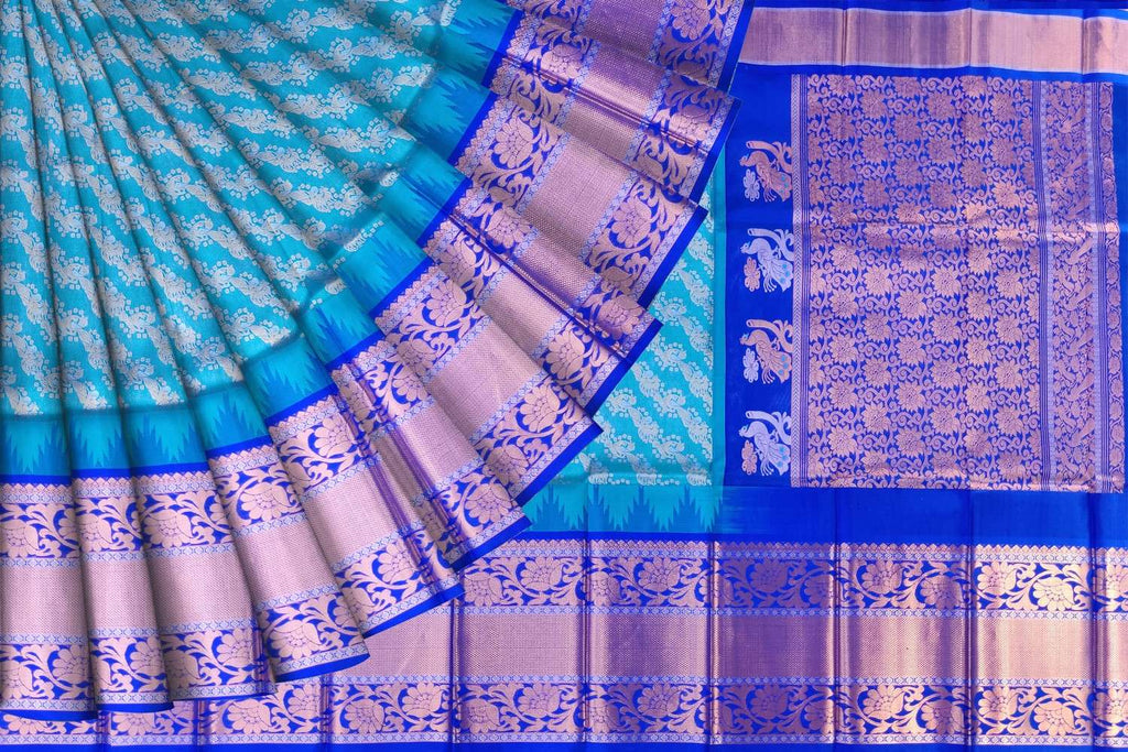 Deep Sky Blue Kanchi Flower goldzari buta brocade Kuppadam Saree