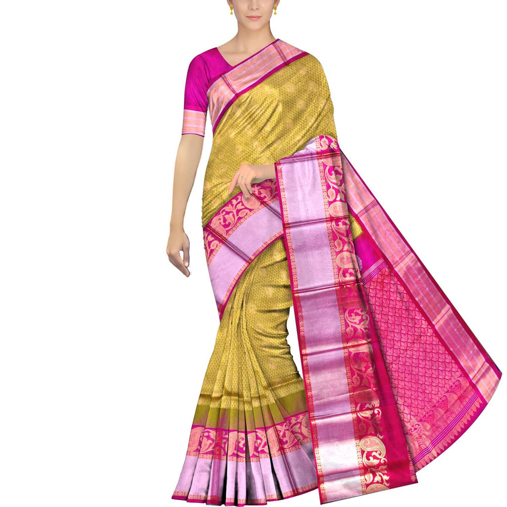 Cookie Brown Kanchi Allover Mango zari brocade Kuppadam Saree