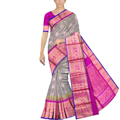 Metallic Silver Kanchi Peacock zari border body checks peacock & flower b Kuppadam Saree