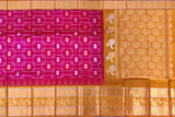 Rogue Pink Kanchi Mango zari border concentric squares body Kuppadam Saree
