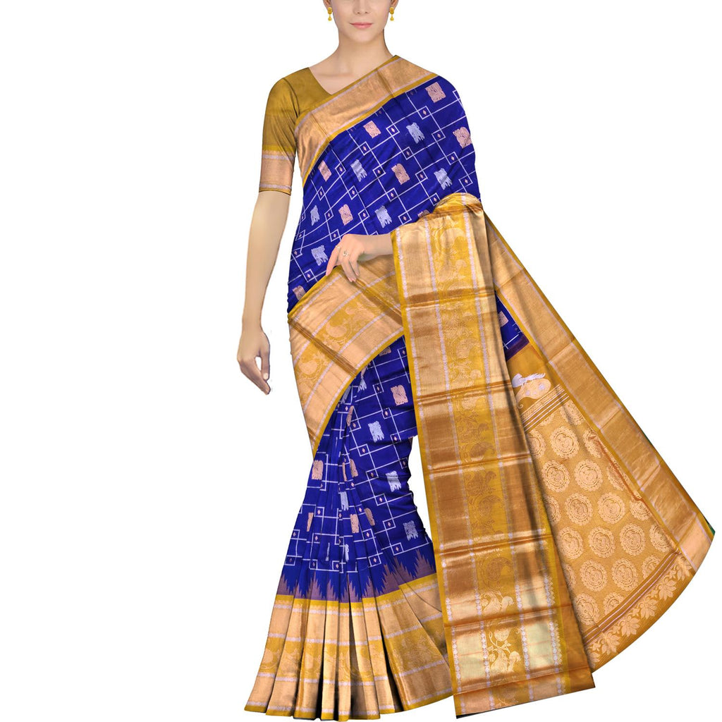 Navy Blue Kanchi Mango zari border concentric squares body Kuppadam Saree