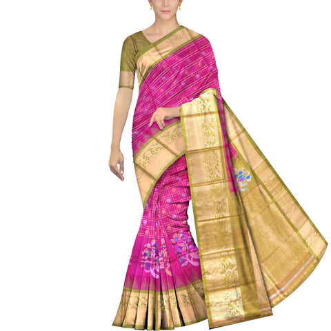 Deep Pink Kanchi Bird & tree zari buta flower buta Kuppadam Saree