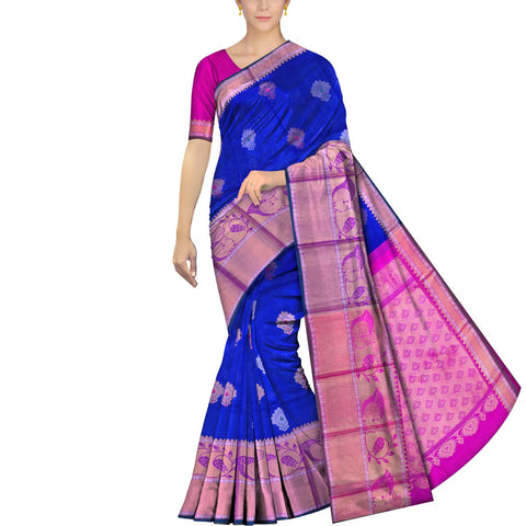 Cobalt Blue Kanchi Big flower buta peacock border  Kuppadam Saree