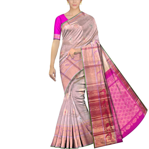 Pearl Kanchi Big flower buta peacock border  Kuppadam Saree