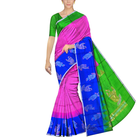 Neon Pink Kanchi Body small checks mudra buta Kuppadam Saree