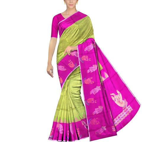Slime Green Kanchi Body small checks mudra buta Kuppadam Saree