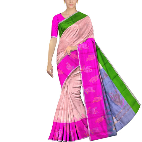 Peach Kanchi Body small checks mudra buta Kuppadam Saree