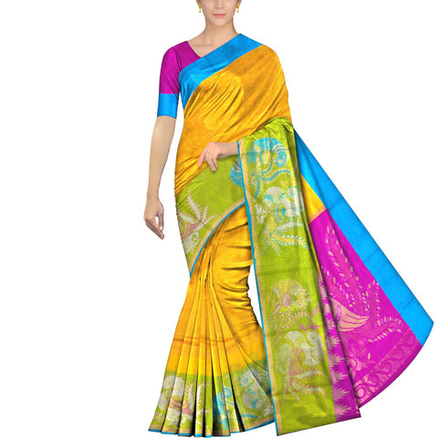 Bright Gold Kanchi Double swan zari border buta Kuppadam Saree