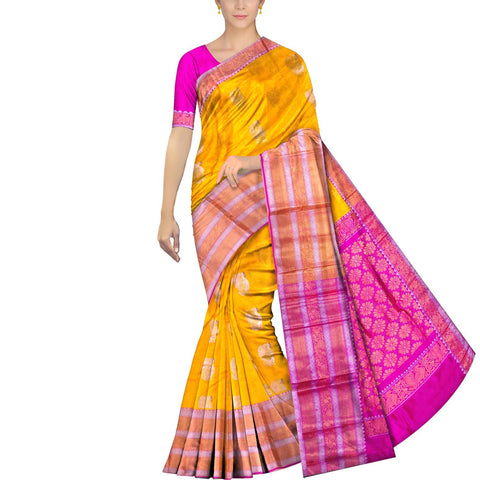Bright Gold Kanchi Big peacock zari border peacock small body buta Kuppadam Saree