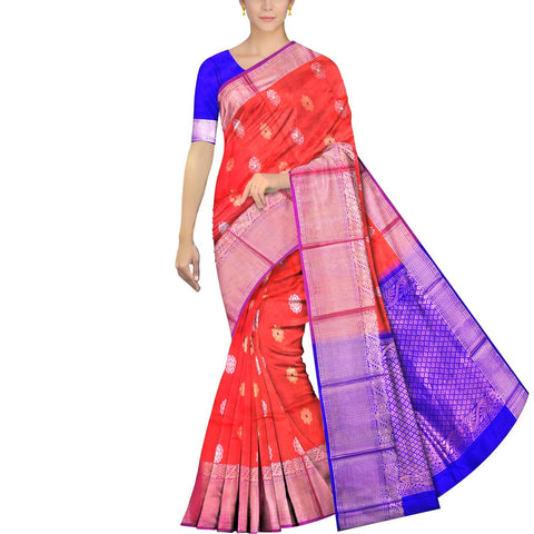 Dark Coral Kanchi Big peacock zari border peacock small body buta Kuppadam Saree