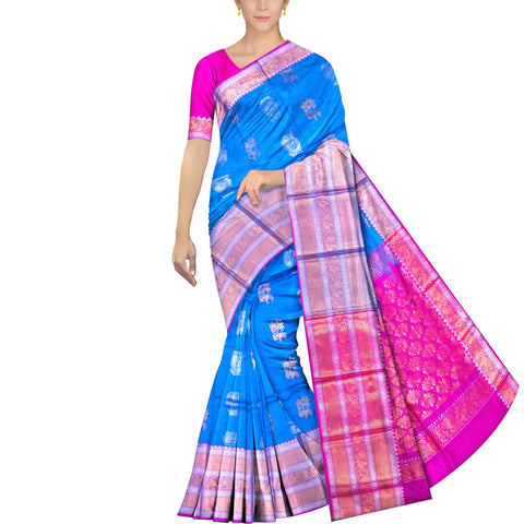 Deep Sky Blue Kanchi Big peacock zari border peacock small body buta Kuppadam Saree