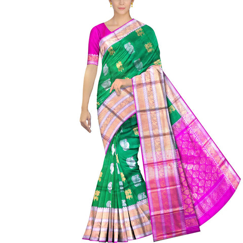 Pine Green Kanchi Big peacock zari border peacock small body buta Kuppadam Saree