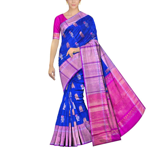 Cobalt Blue Kanchi Big peacock zari border peacock small body buta Kuppadam Saree