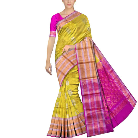 Sun Yellow Kanchi Big peacock zari border peacock small body buta Kuppadam Saree