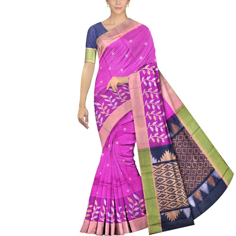 Neon Pink Uppada Kuppadam Body small checks flower buta leaf border Saree