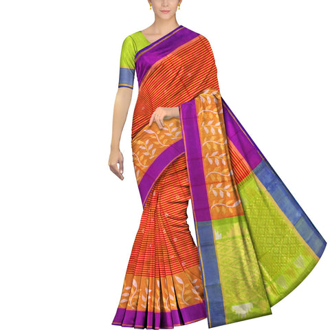 Dark Coral Uppada Kuppadam Body small checks flower buta leaf border Saree