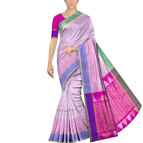 Pearl Uppada Kuppadam Body small checks flower buta leaf border Saree
