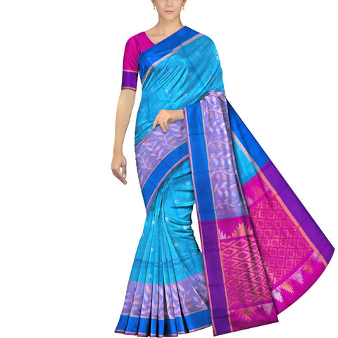 Deep Sky Blue Uppada Kuppadam Body small checks flower buta leaf border Saree