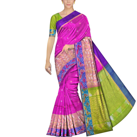 Deep Pink Uppada Pochampally Pochampally border leaf work small checks Saree