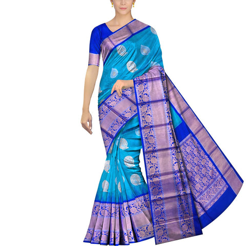 Deep Sky Blue Kanchi Big flower zari border body zari buta Kuppadam Saree