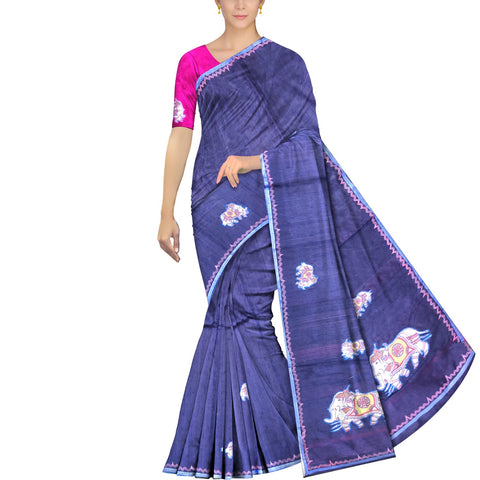 Dark Slate Blue Ksheerapuri Patchwork Elephant buta body & pallu Saree