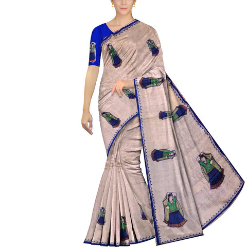 Cream Ksheerapuri Patchwork Lady with pallu buta Saree