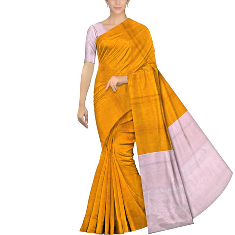 Orange Ksheerapuri Patchwork Plain body contrast pallu Saree