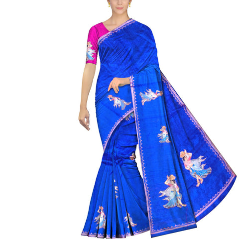 Cobalt Blue Ksheerapuri Patchwork Lady with pot buta work Saree