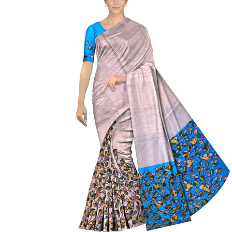 Milk White Ksheerapuri Patchwork Partly pallu flower buta Saree
