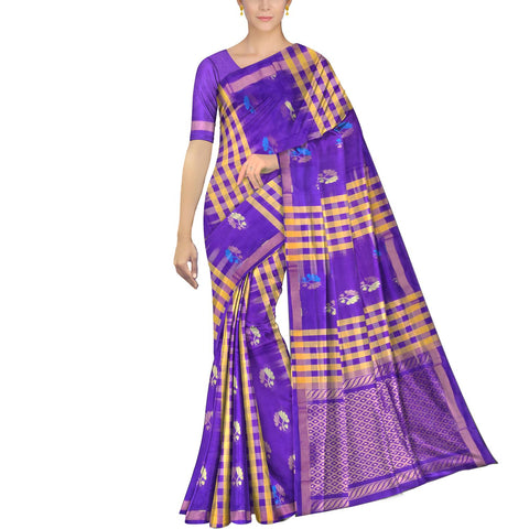 Purple Ksheerapuri Kuppadam Body checks alternate flower buta Saree