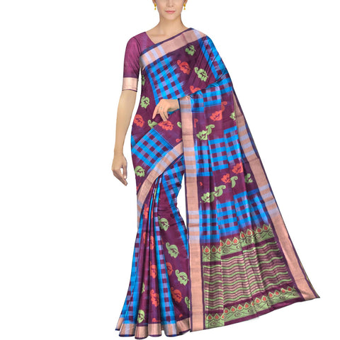 Deep Sky Blue Ksheerapuri Kuppadam Body checks alternate flower buta Saree