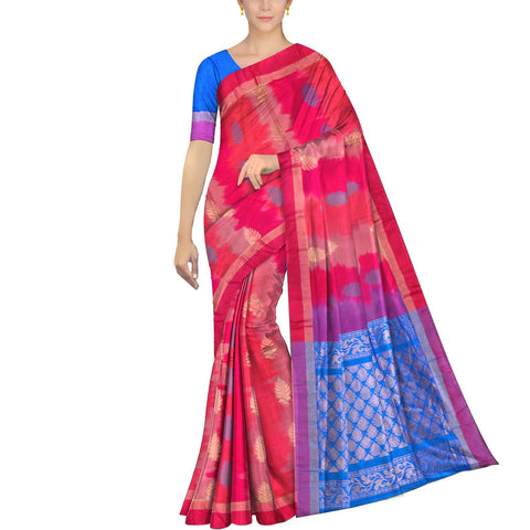 Red Pochampally Kuppadam Pochampally body flower buta Saree
