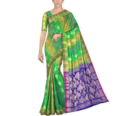 Kelly Green Pochampally Kuppadam Pochampally body flower buta Saree