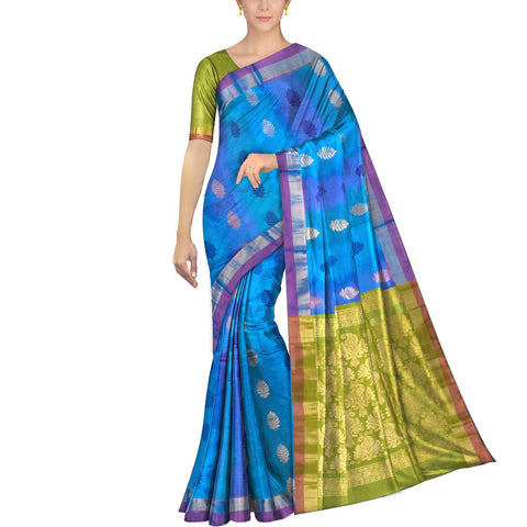 Deep Sky Blue Pochampally Kuppadam Pochampally body flower buta Saree