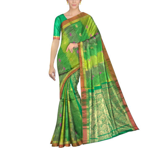 Pastel Green Pochampally Kuppadam Pochampally body flower buta Saree