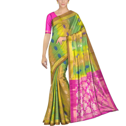 Mustard Pochampally Kuppadam Pochampally body flower buta Saree