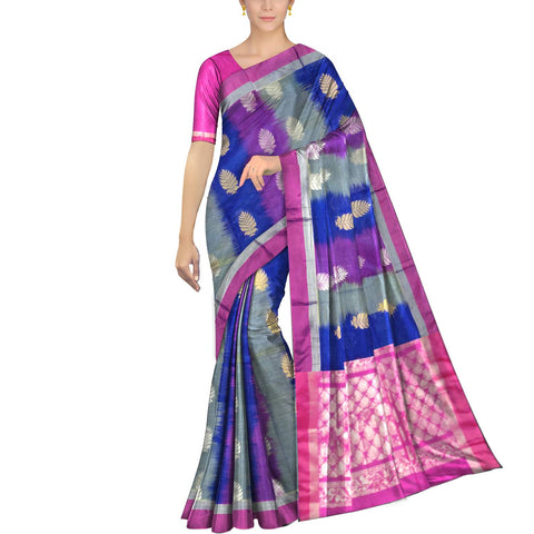 Navy Blue Pochampally Kuppadam Pochampally body flower buta Saree