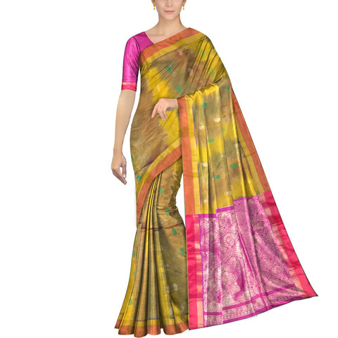 Corn Yellow Pochampally Kuppadam Pochampally body flower buta Saree